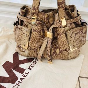 Michael Kors Beverly Python Embossed Leather
